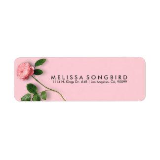 Solo color de rosa rosado elegante etiquetas de remite