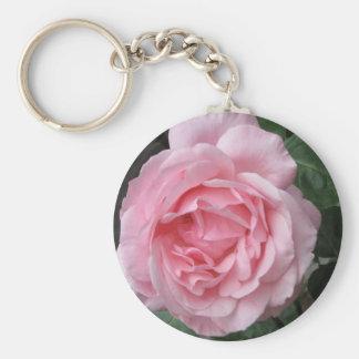 Solo color de rosa rosado - fotografía llavero redondo tipo pin
