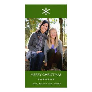 Solo copo de nieve con colores adaptables tarjetas con fotos personalizadas