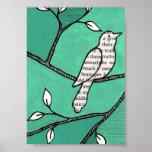 Solo Cute Bird on a Branch Print