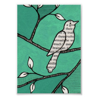 Solo Cute Bird on a Branch Print