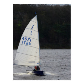 Solo Dinghy At Speed Postcard
