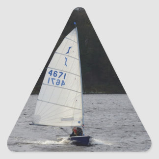 Solo Dinghy At Speed Triangle Sticker