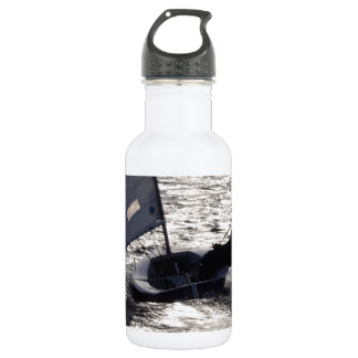 Solo Dinghy Sailing Into The Sun 18oz Water Bottle