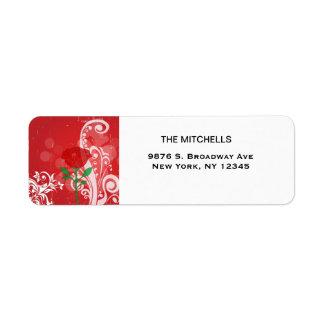 Solo diseño de las imágenes del rosa rojo etiqueta de remitente