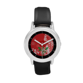 Solo diseño de las imágenes del rosa rojo reloj