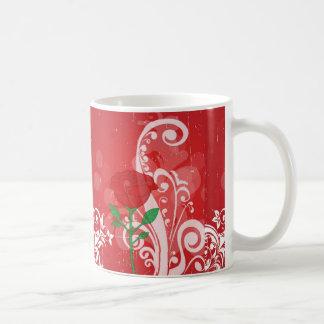 Solo diseño de las imágenes del rosa rojo taza clásica