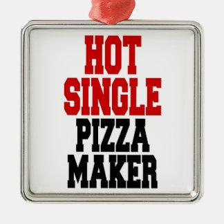 Solo fabricante caliente de la pizza adorno cuadrado plateado