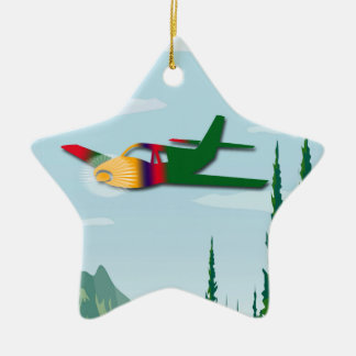 Solo Flight Double-Sided Star Ceramic Christmas Ornament