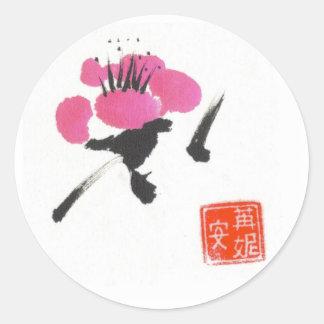 Solo flor del ciruelo etiquetas redondas