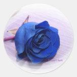 Solo fondo color de rosa, pálido azul marino pegatina redonda