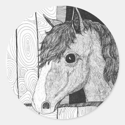 Solo Horse Art Round Stickers