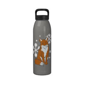 Solo modelo del Fox rojo del invierno Nevado Botellas De Beber