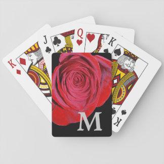 Solo monograma del rosa rojo baraja de póquer