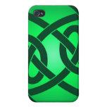 Solo nudo de lazo verde iPhone 4 cárcasas