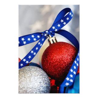 Solo ornamento patriótico del navidad impresiones fotográficas