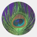 Solo pavo real de la hoja púrpura etiqueta redonda