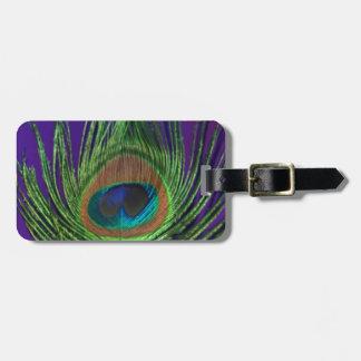 Solo pavo real de la hoja púrpura etiquetas de equipaje