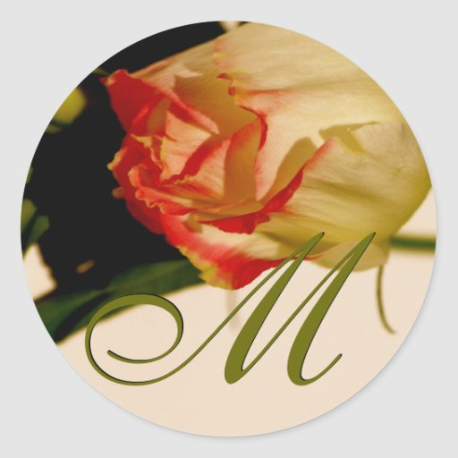 Solo pegatina color de rosa del boda del monograma