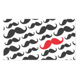 Solo profesional rojo gris moderno del bigote tarjeta de negocio