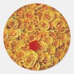 Solo rojo en rosas amarillos de la cama etiqueta redonda