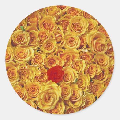 Solo rojo en rosas amarillos de la cama pegatina redonda