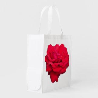 Solo rosa rojo bolsas reutilizables