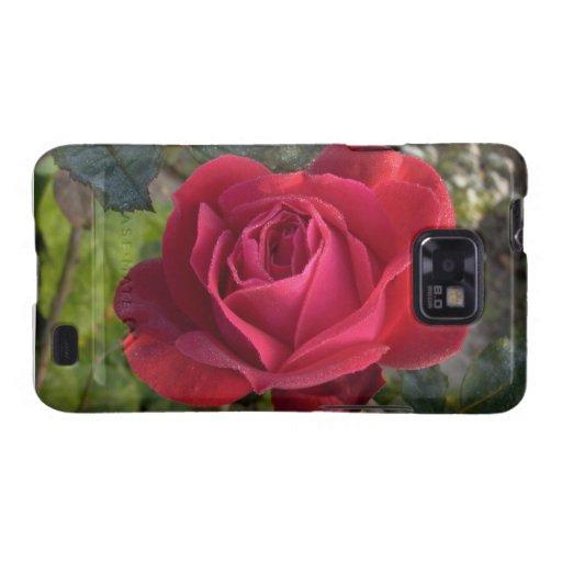 solo rosa rojo con rocío samsung galaxy SII fundas