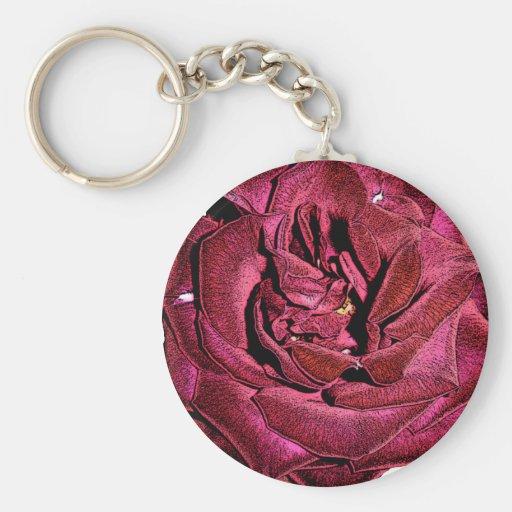 Solo rosa rojo llavero personalizado