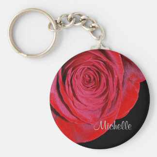 Solo rosa rojo personalizado llavero personalizado