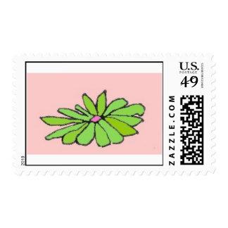 solo rosa verde de la margarita sellos