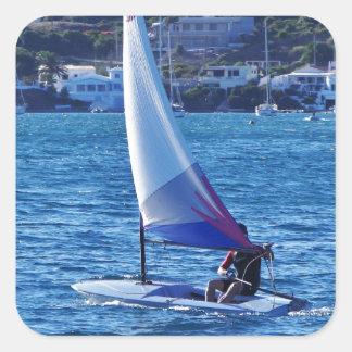 Solo Sailing Dinghy Square Sticker