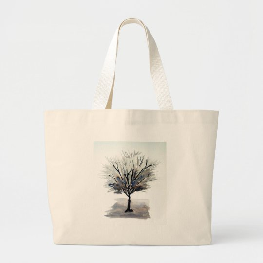 Solo Tree in Monochrome Large Tote Bag