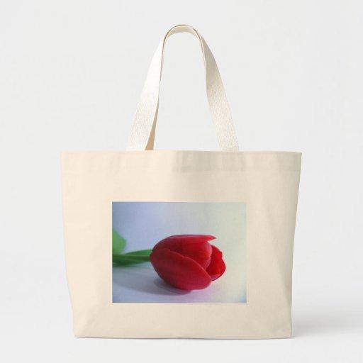 Solo tulipán rojo bolsa tela grande