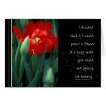 Solo tulipán rojo con cita tarjetón