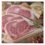 Solomillo de la carne de vaca azulejo cuadrado grande