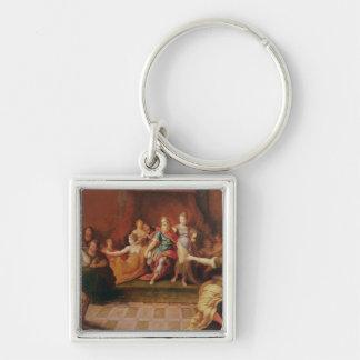 Solomon and his Women Silver-Colored Square Keychain