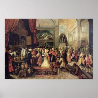 Solomon en el Hacienda del templo, 1633 Póster