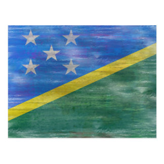 Solomon Islands distressed flag Postcard