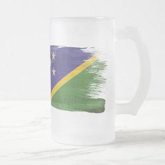 Solomon Islands Flag Frosted Glass Beer Mug