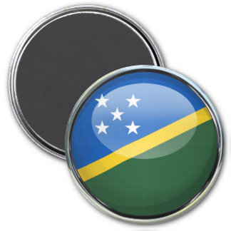 Solomon Islands Flag Glass Ball 3 Inch Round Magnet