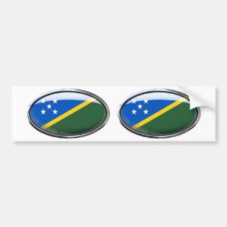 Solomon Islands Flag Glass Oval Bumper Sticker
