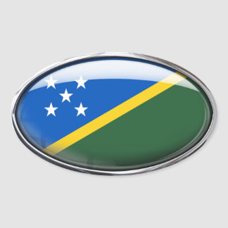 Solomon Islands Flag Glass Oval Oval Sticker