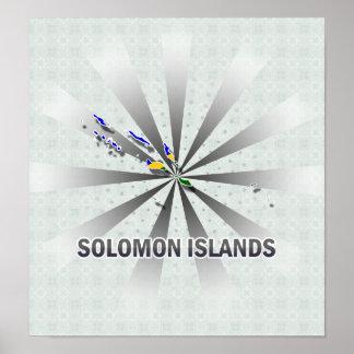 Solomon Islands Flag Map 2.0 Poster