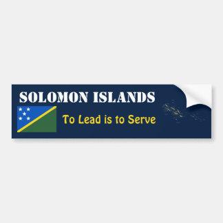 Solomon Islands Flag + Map Bumper Sticker