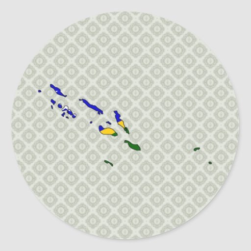 Solomon Islands Flag Map full size Sticker
