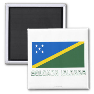Solomon Islands Flag with Name 2 Inch Square Magnet