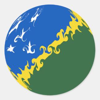 Solomon Islands Gnarly Flag Classic Round Sticker