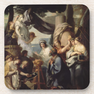 Solomon making a sacrifice to the idols beverage coaster