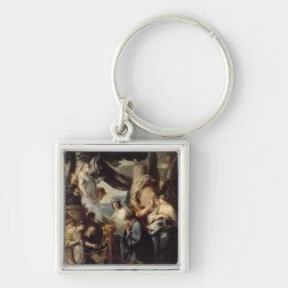 Solomon making a sacrifice to the idols Silver-Colored square keychain